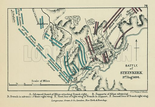 Battle of Steinkirk. A Advanced Guard of Allies attacking French Right. B Supports of Allies Advancing. D French in Advance of their Right Wing. E First Line of Right Wing of French in Support. F Second Line of French Right Wing. Illustration for A School Atlas of English History by SR Gardiner (Longmans, 1899).