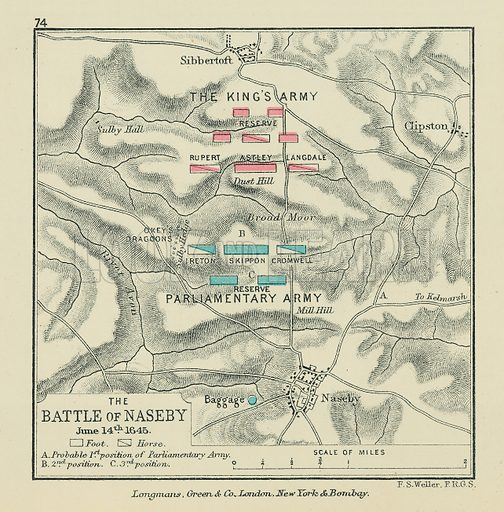 The Battle of Naseby. Illustration for A School Atlas of English History by SR Gardiner (Longmans, 1899).