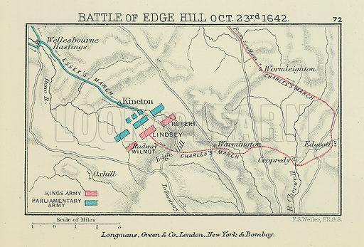 Battle of Edge Hill. Illustration for A School Atlas of English History by SR Gardiner (Longmans, 1899).