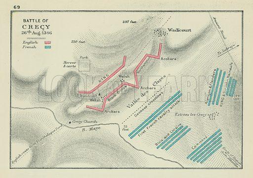Battle of Crecy. Illustration for A School Atlas of English History by SR Gardiner (Longmans, 1899).