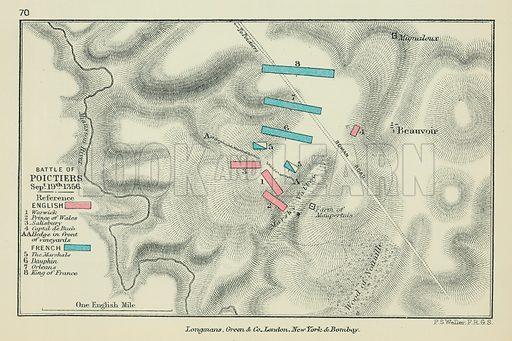 Battle of Poictiers. Illustration for A School Atlas of English History by SR Gardiner (Longmans, 1899).