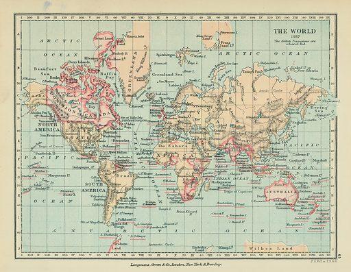 The World. Illustration for A School Atlas of English History by SR Gardiner (Longmans, 1899).