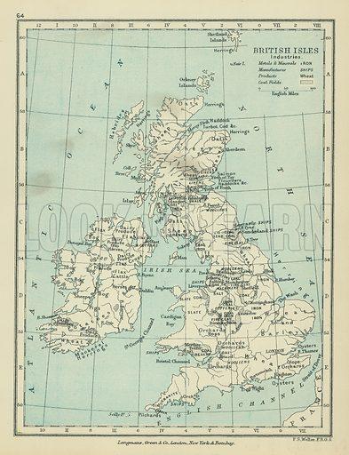 British Isles Industries. Illustration for A School Atlas of English History by SR Gardiner (Longmans, 1899).