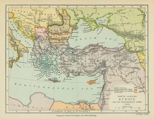 South Eastern Europe and the Neighbouring Lands. Illustration for A School Atlas of English History by SR Gardiner (Longmans, 1899).