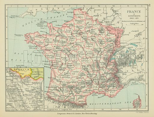 France in Departments. Illustration for A School Atlas of English History by SR Gardiner (Longmans, 1899).