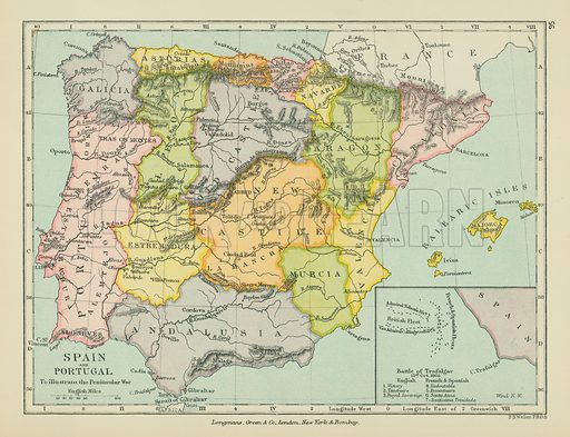 Spain and Portugal. Illustration for A School Atlas of English History by SR Gardiner (Longmans, 1899).