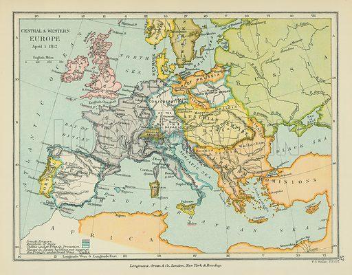 Central & Western Europe. Illustration for A School Atlas of English History by SR Gardiner (Longmans, 1899).
