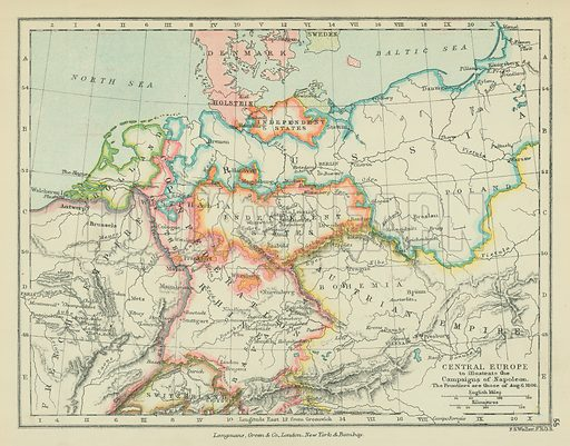 Central Europe to Illustrate the Campaigns of Napoleon. Illustration for A School Atlas of English History by SR Gardiner (Longmans, 1899).