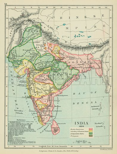 India. Illustration for A School Atlas of English History by SR Gardiner (Longmans, 1899).