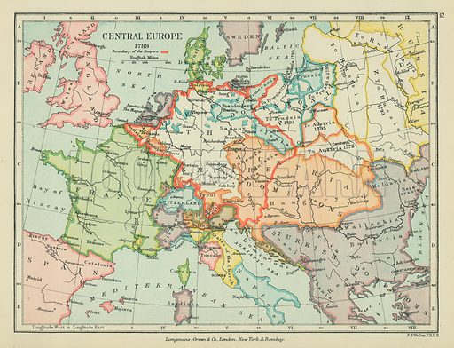Central Europe. Illustration for A School Atlas of English History by SR Gardiner (Longmans, 1899).