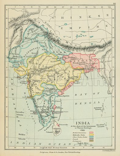 India at the Close of the Government of Warren Hastings. Illustration for A School Atlas of English History by SR Gardiner (Longmans, 1899).