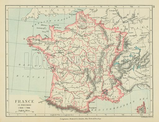 France in Provinces. Illustration for A School Atlas of English History by SR Gardiner (Longmans, 1899).