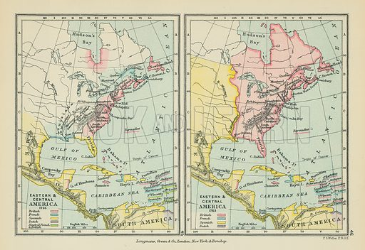 Eastern & Central America. Illustration for A School Atlas of English History by SR Gardiner (Longmans, 1899).