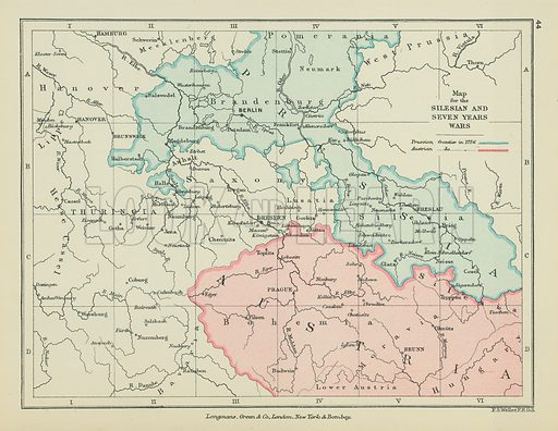 Map for the Silesian and Seven Years Wars. Illustration for A School Atlas of English History by SR Gardiner (Longmans, 1899).