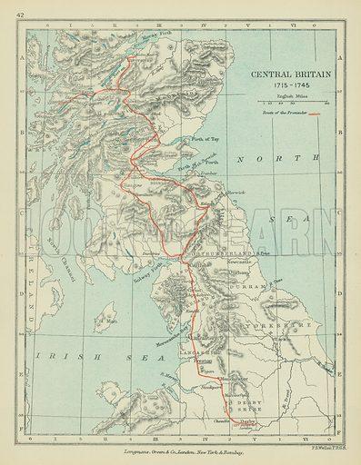 Central Britain. Illustration for A School Atlas of English History by SR Gardiner (Longmans, 1899).