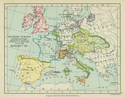 Western Europe showing the Changes effected by the Treaties of Utrecht & Rastadt. Illustration for A School Atlas of English History by SR Gardiner (Longmans, 1899).