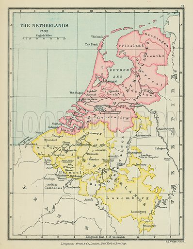 The Netherlands. Illustration for A School Atlas of English History by SR Gardiner (Longmans, 1899).