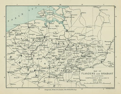 Map of Flanders and Brabant to Illustrate Campaigns of William III. Illustration for A School Atlas of English History by SR Gardiner (Longmans, 1899).