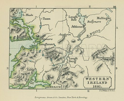 Western Ireland. Illustration for A School Atlas of English History by SR Gardiner (Longmans, 1899).