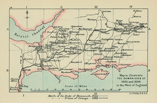 Map to Illustrate the Campaigns of 1685 and 1688 in the West of England. Illustration for A School Atlas of English History by SR Gardiner (Longmans, 1899).