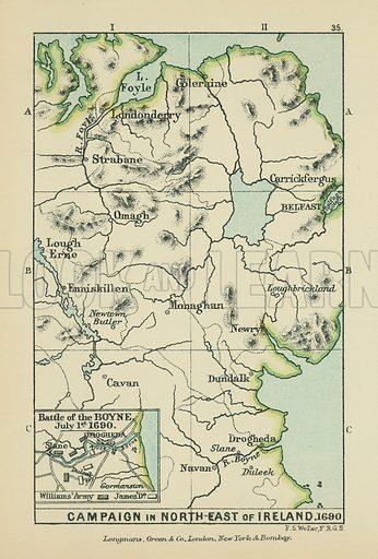 Battle of the Boyne. Illustration for A School Atlas of English History by SR Gardiner (Longmans, 1899).