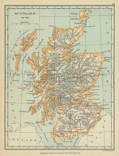 Scotland. Illustration for A School Atlas of English History by SR Gardiner (Longmans, 1899).