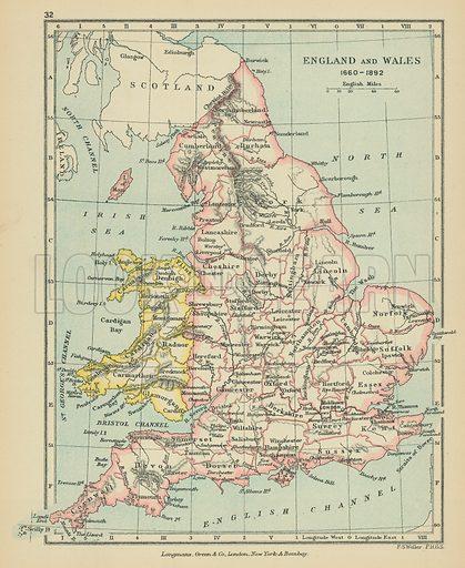 England & Wales. Illustration for A School Atlas of English History by SR Gardiner (Longmans, 1899).