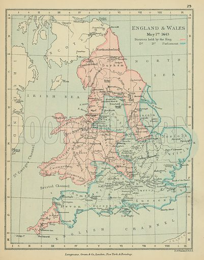 England & Wales. Illustration for A School Atlas of English History by SR Gardiner (Longmans, 1899).