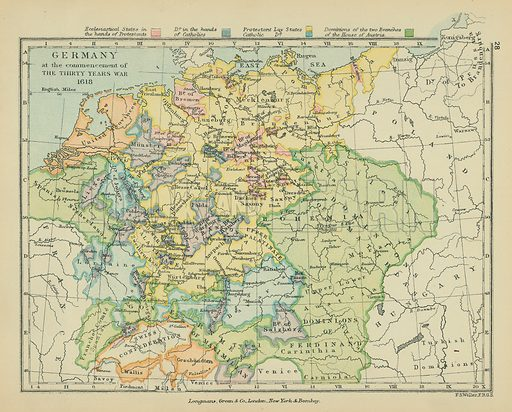 Germany at the Commencement of the Thirty Years War. Illustration for A School Atlas of English History by SR Gardiner (Longmans, 1899).