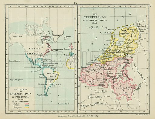 Dicoveries of England, Spain & Portugal in the 15th & 16th Centuries. The Netherlands at the Death of Elizabeth. Illustration for A School Atlas of English History by SR Gardiner (Longmans, 1899).