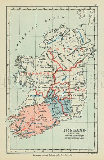 Ireland. Illustration for A School Atlas of English History by SR Gardiner (Longmans, 1899).