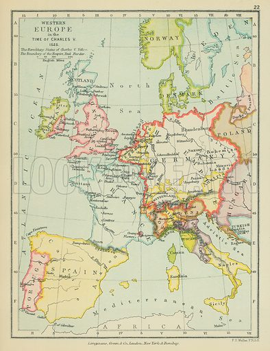 Western Europe in the Time of Charles V. Illustration for A School Atlas of English History by SR Gardiner (Longmans, 1899).