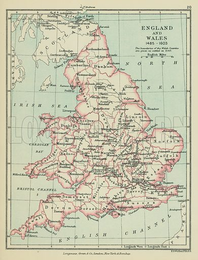 England and Wales. Illustration for A School Atlas of English History by SR Gardiner (Longmans, 1899).