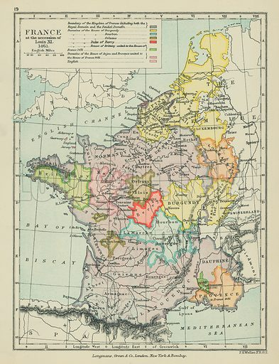 France at the Accession of Louis XI. Illustration for A School Atlas of English History by SR Gardiner (Longmans, 1899).