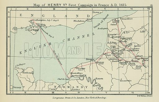Map of Henry V's First Campaign in France AD 1415. Illustration for A School Atlas of English History by SR Gardiner (Longmans, 1899).