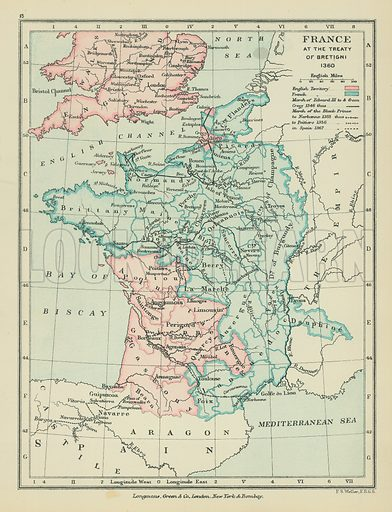 France at the Treaty of Bretigni. Illustration for A School Atlas of English History by SR Gardiner (Longmans, 1899).