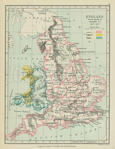 England in the Reign of Edward III. Illustration for A School Atlas of English History by SR Gardiner (Longmans, 1899).