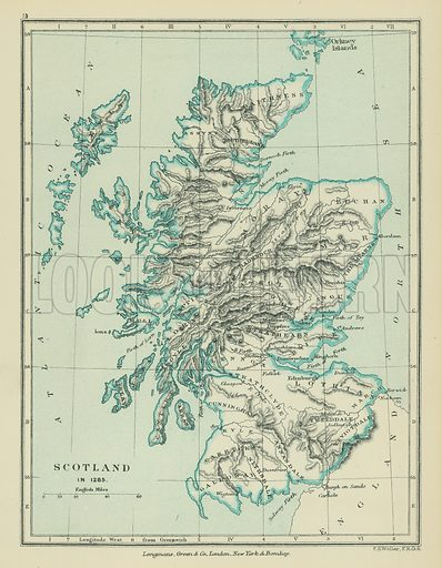 Scotland. Illustration for A School Atlas of English History by SR Gardiner (Longmans, 1899).