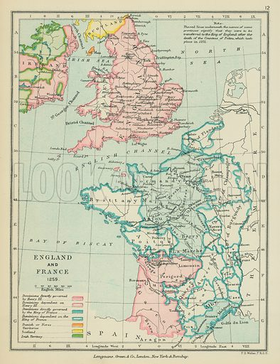 England and French. Illustration for A School Atlas of English History by SR Gardiner (Longmans, 1899).