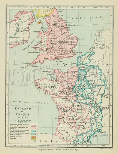 England and France. Illustration for A School Atlas of English History by SR Gardiner (Longmans, 1899).