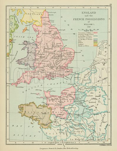England and the French Possessions of William I. Illustration for A School Atlas of English History by SR Gardiner (Longmans, 1899).