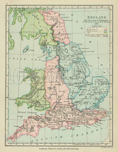 England after the treaty of Chippenham. Illustration for A School Atlas of English History by SR Gardiner (Longmans, 1899).