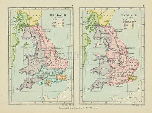 England. Illustration for A School Atlas of English History by SR Gardiner (Longmans, 1899).