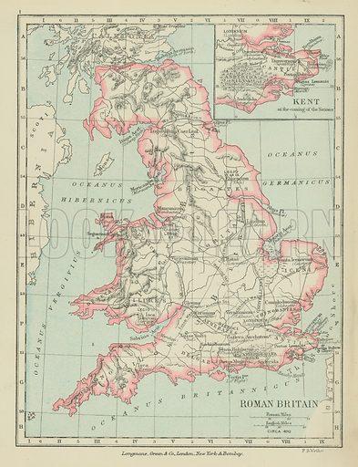 Roman Britain. Illustration for A School Atlas of English History by SR Gardiner (Longmans, 1899).
