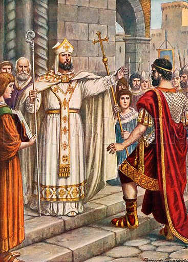 Emperor Theodosius forbidden by St Ambrose from entering Milan cathedral. Illustration for Storia d'Italia by Paolo Giudici (Nerbini, 1929).