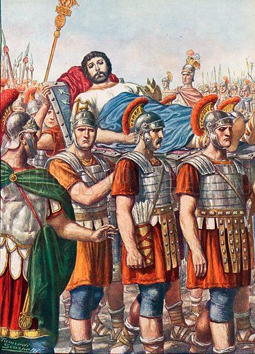 The end of the Emperor Julian. Illustration for Storia d'Italia by Paolo Giudici (Nerbini, 1929).