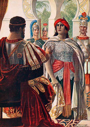 Zenobia in the presence of Aurelian. Illustration for Storia d'Italia by Paolo Giudici (Nerbini, 1929).