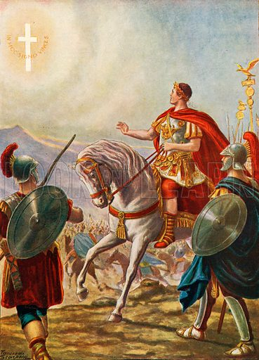The emperor Constantine seeing the sign of the Cross. Illustration for Storia d'Italia by Paolo Giudici (Nerbini, 1929).