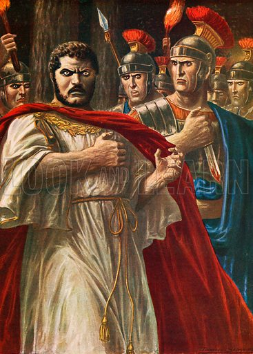 The emperor Caracalla about to be killed by Julius Martialis.  Illustration for Storia d'Italia by Paolo Giudici (Nerbini, 1929).