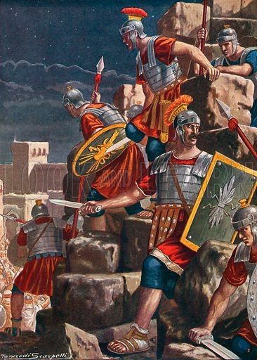 The taking of Jerusalem by the Romans under the direction of Titus. Illustration for Storia d'Italia by Paolo Giudici (Nerbini, 1929).